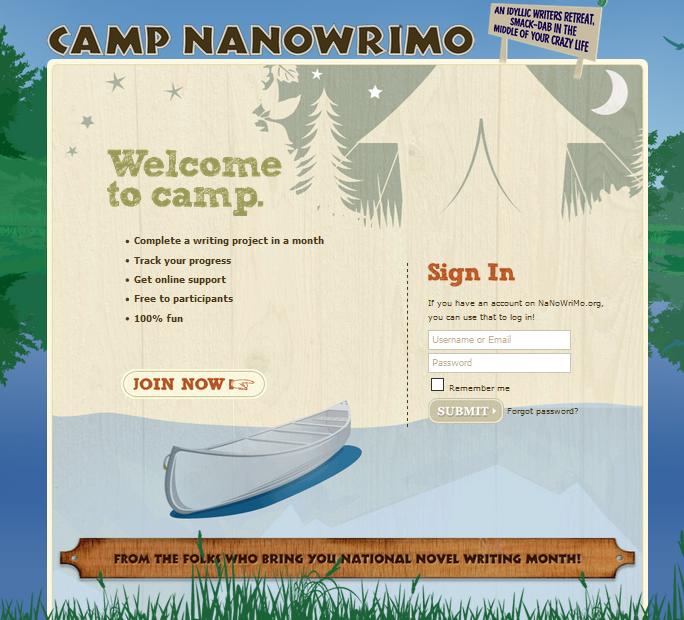 Camp NaNo homepage