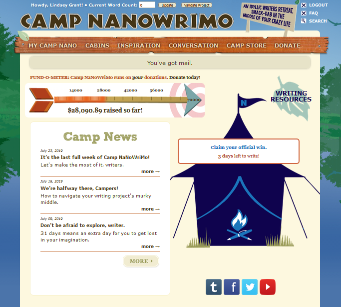 Camp NaNo main nav
